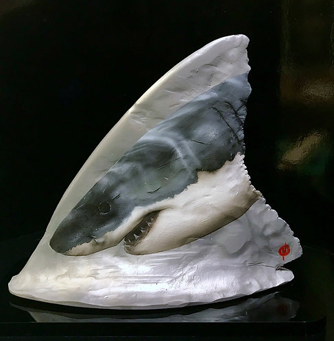 Great White fin sculpture