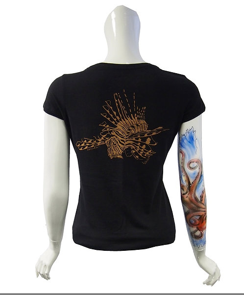 Ladies Dark water lion fish T-shirt