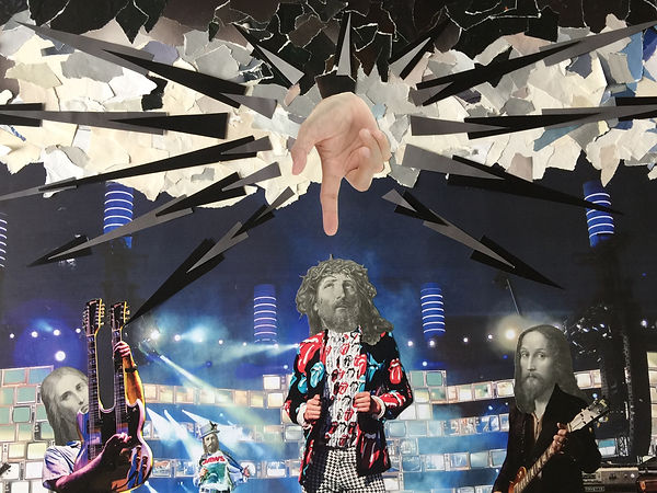 A 7 foot-long collage featuring vintage images of God's head, pasted on to rock stars bodies. by Laurie Langford artist