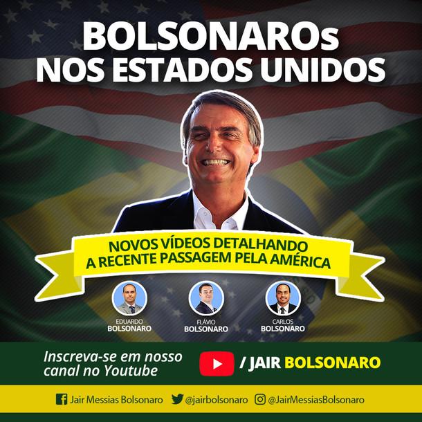 JAIR, EDUARDO, FLÁVIO E CARLOS BOLSONARO NOS ESTADOS UNIDOS.
