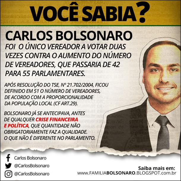 CARLOS BOLSONARO, O ÚNICO CONTRA O AUMENTO DO NÚMERO DE VEREADORES.