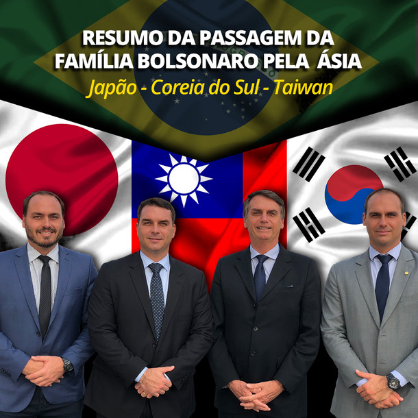 BOLSONARO NA ÁSIA   Japão, Coreia do Sul e Taiwan.