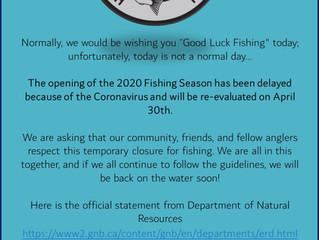 2020 Fishing Season delayed due to COVID19!!
