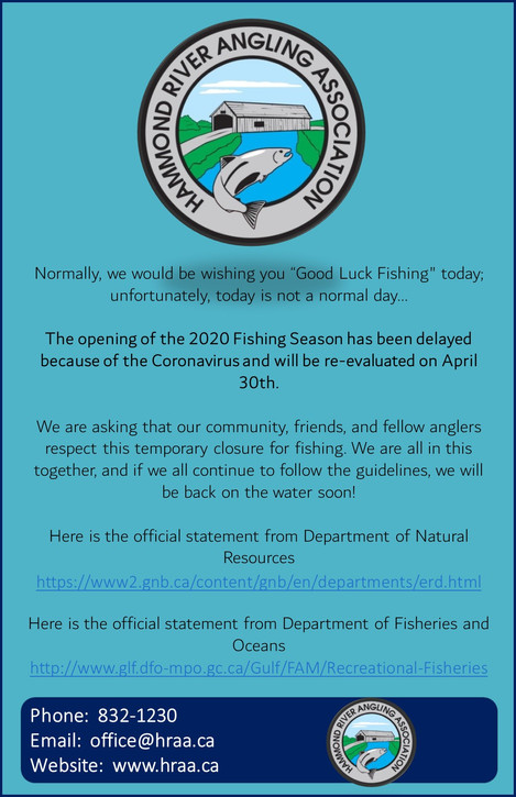 2020 Fishing Season delayed due to COVID19!!