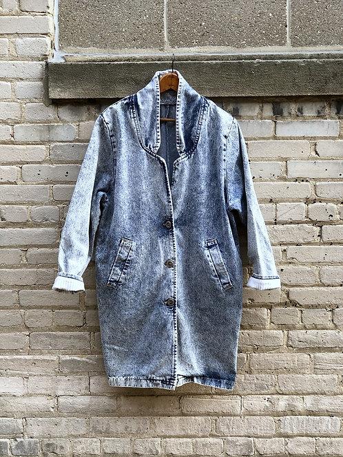 Vintage Palmettos Acid Wash Denim Cacoon Coat