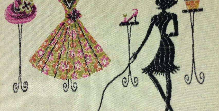 Shopping Girl Upholstery Fabric