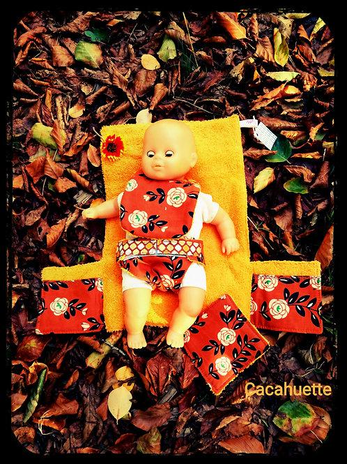 """Ensemble à langer pour poupée""""fleurs seventies !!"""""""