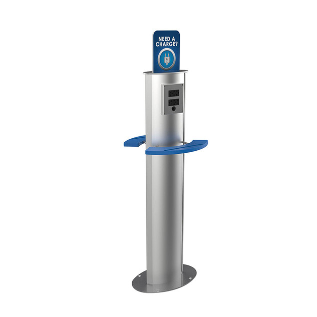 Charging stanchion with shelves