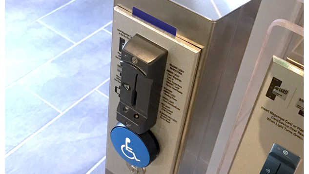 Stainless Steel Floor Mounted Card Reader Post with Handicap Button