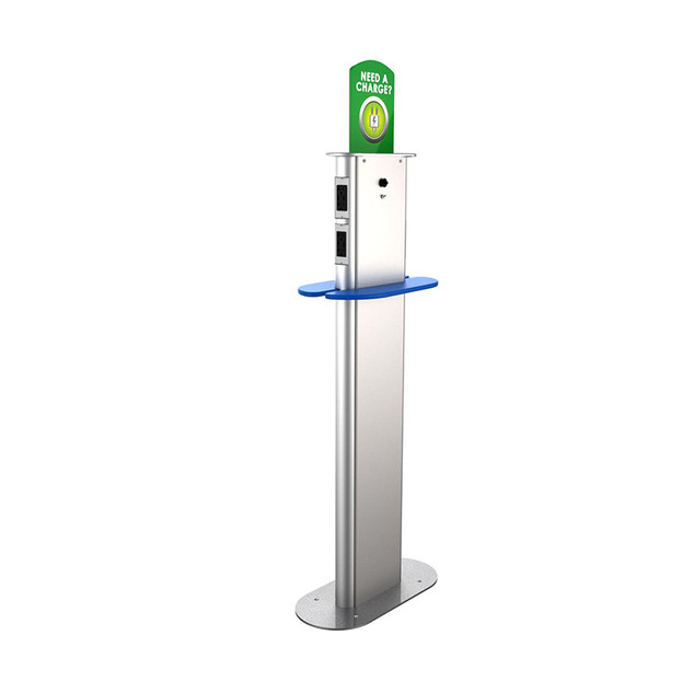 Charging stanchion w shelf