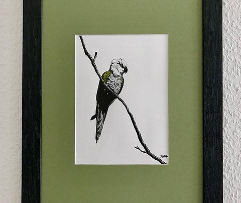 """Tableau personnalisé dans le style de ma collection """"un perroquet une couleur"""""""