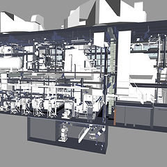 As-built Revit model created from point clouds of a central heating plant