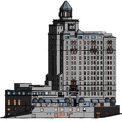 As-built Revit model of the full exterior and roof of a 16 story building