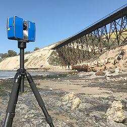 Faro X330 Laser Scanner scanning a railroad bridge