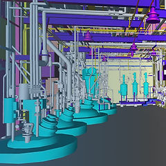 As-built 3D model created from point clouds of a mechanical room
