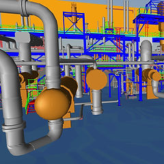 As-built 3D model created from point clouds of an oil and gas facility