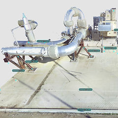 Colorized point cloud used to pull measurements on piping and steel