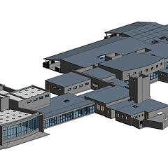 As-built Revit model created from point clouds of a high school