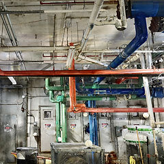 Colorized point cloud of a mechanical room