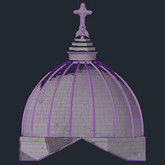 As-built CAD drawing created from point clouds of a cathedral dome