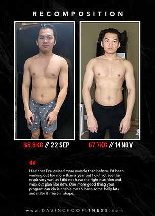 Body transformation Davin choo fitness
