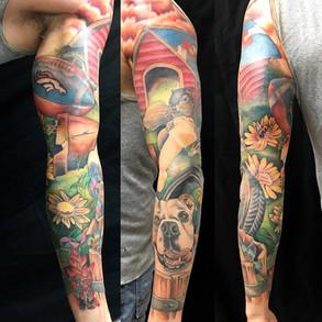 adam rose tattoo, fallen owl tattoo, den