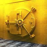 Closed bank vault door in gold. 3D Rende