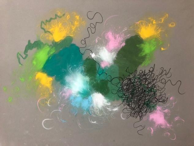 4 Pastellkreide auf Velour-Pastellpapier. Größe: 80x60cm