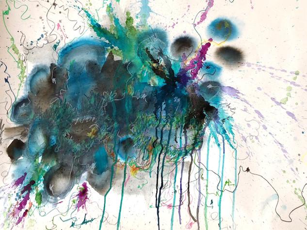 3 Aquarell auf Büttenpapier, gerahmt, schwebend auf Passepartoutkarton, UV Schutzglas. Größe: 90x95cm
