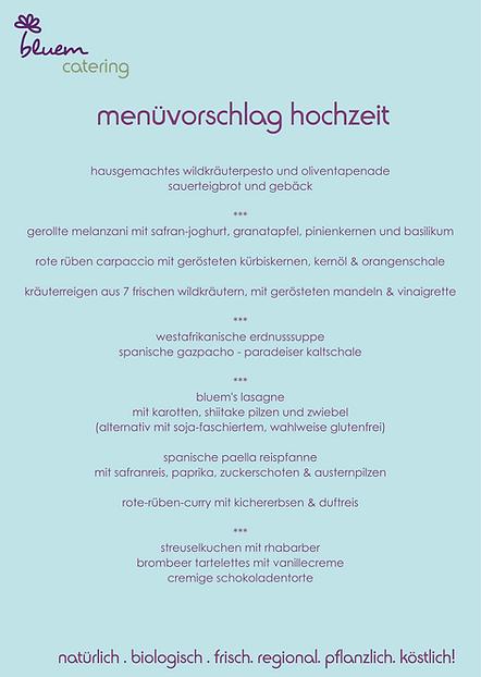 bluem catering menüvorschläge hochzeit