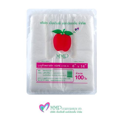 ถุงหูหิ้ว HDPE 6x14 นิ้ว (100 ใบ)