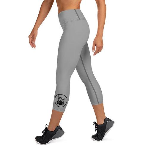 Loscar Circle Logo - Grey Yoga Capri Leggings