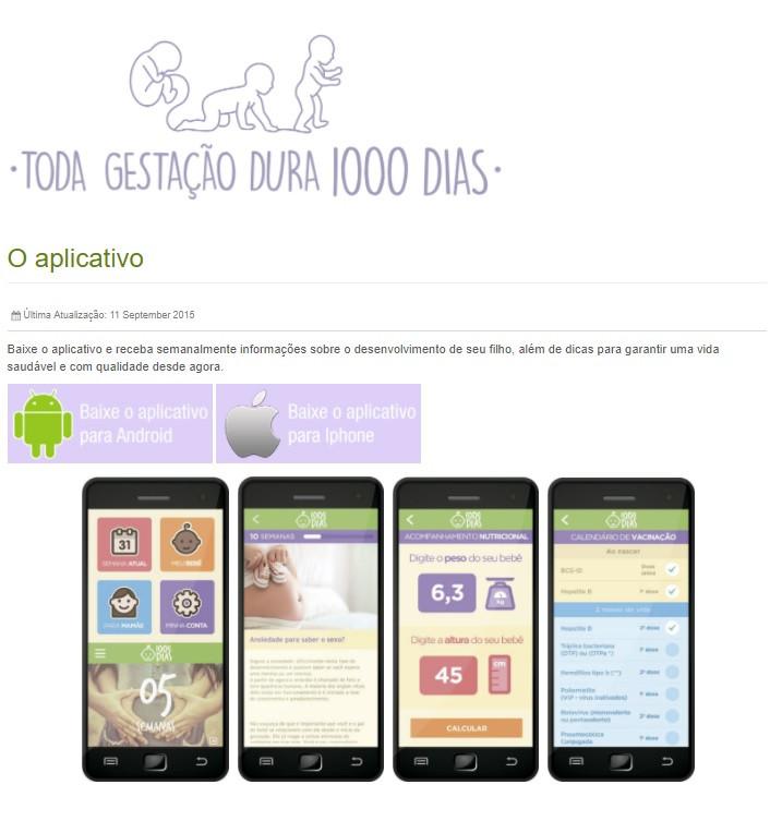 1000 dias - aplicativo - Pastoral da Criança