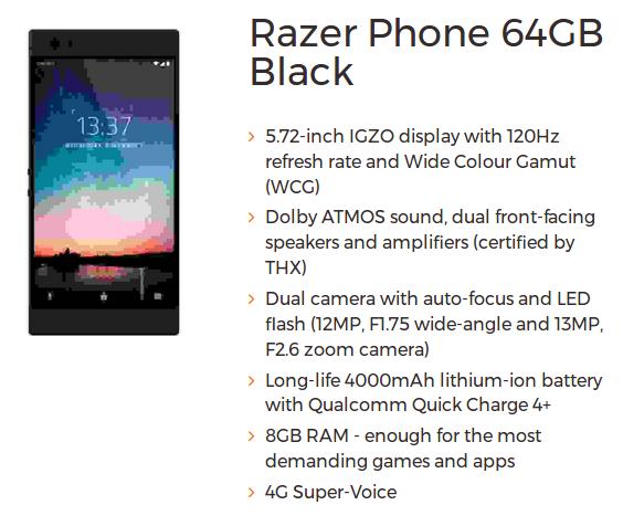 Razer smartphone specs