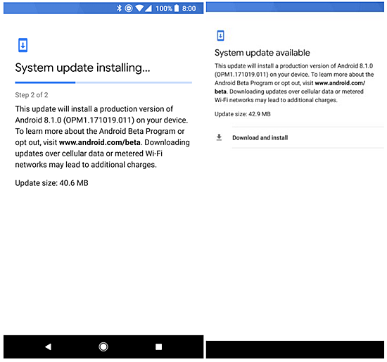 Android Oreo 8.1 for Pixel 2 and Pixel 2 XL