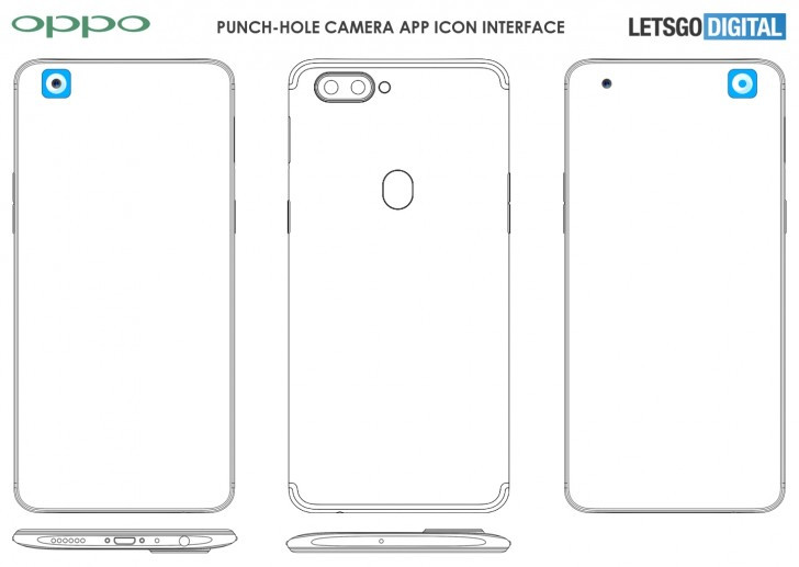Oppo punch-hole camera app icon interface