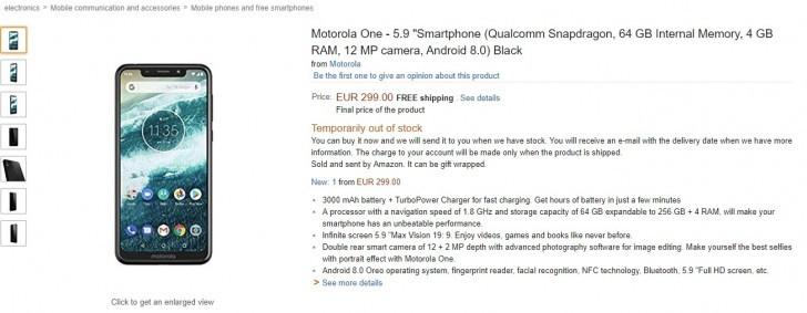 Motorola One in spanish Amazon