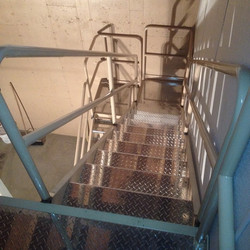 Staircase installed #mahaffymetalworks #metalstairs