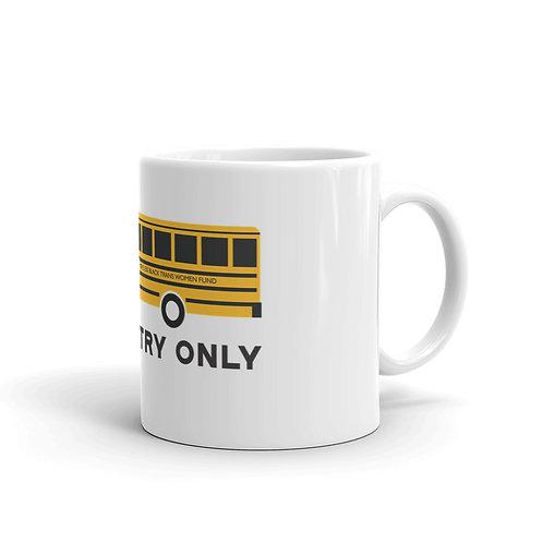 Rear Entry Only White glossy mug