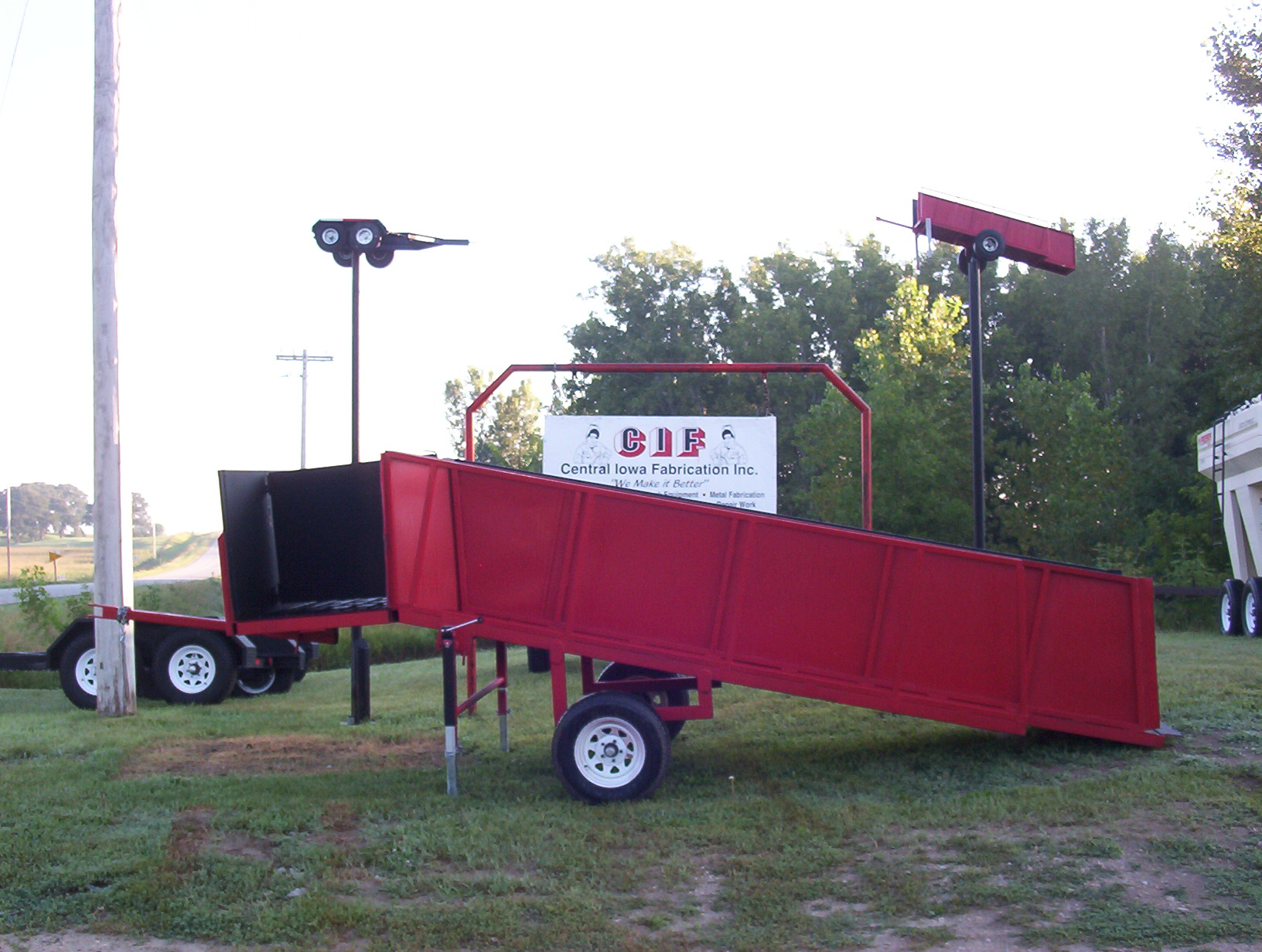 red portable loading chute