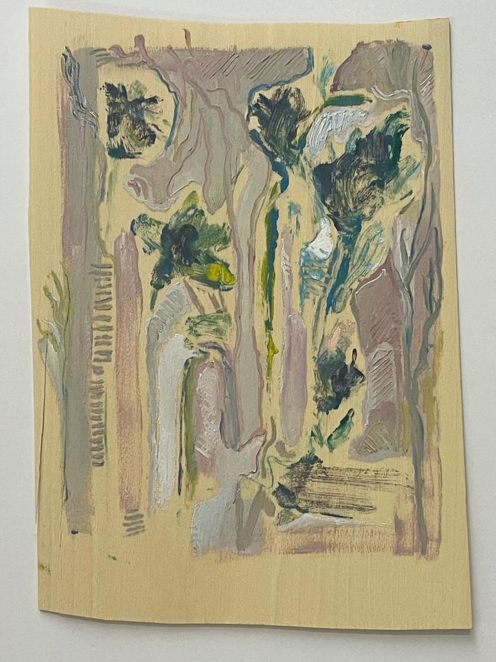 sem titulo, monitipia e pintura sobre folha de madeira