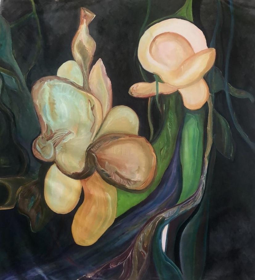 Flor nova, oleo sobre tela