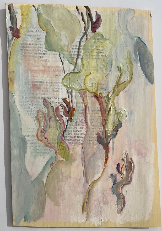 sem titulo, pintura óleo e colagem sobre folha de madeira