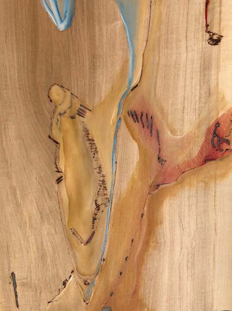 Desejo III, Pirografia e pintura sobre folha de madeira