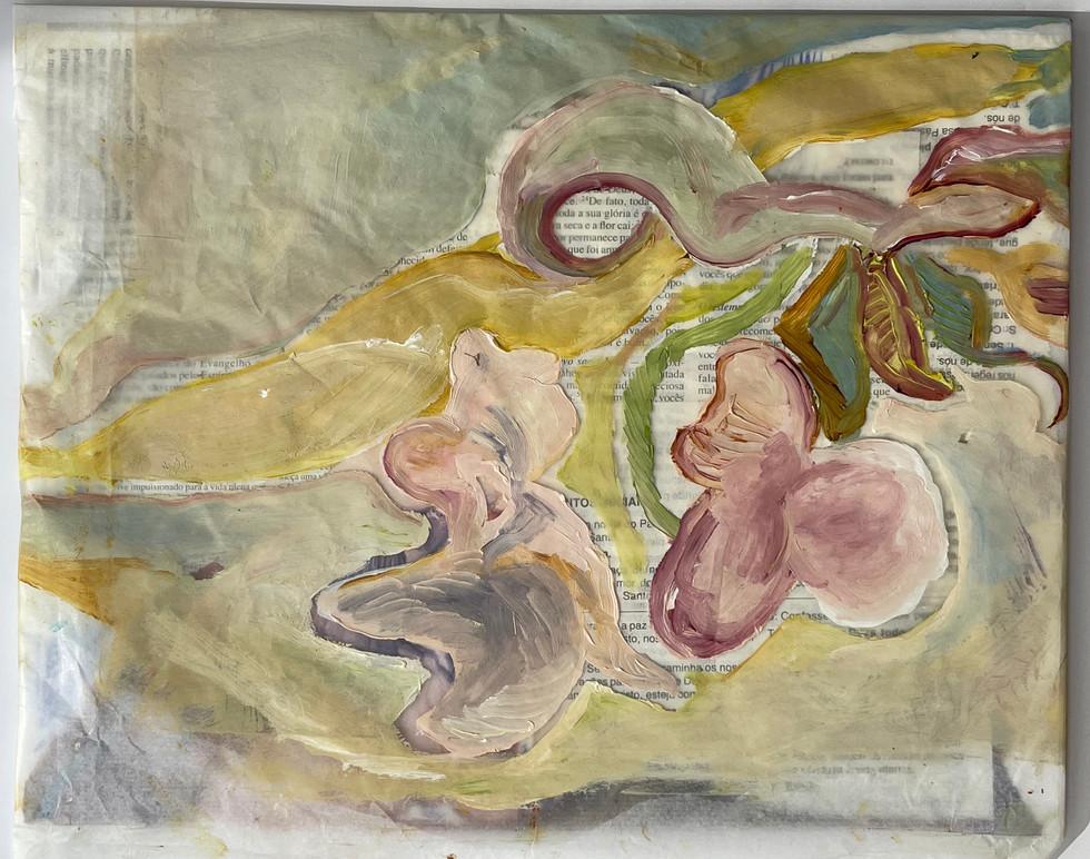 sem titulo, pintura a óleo sobre papel de seda