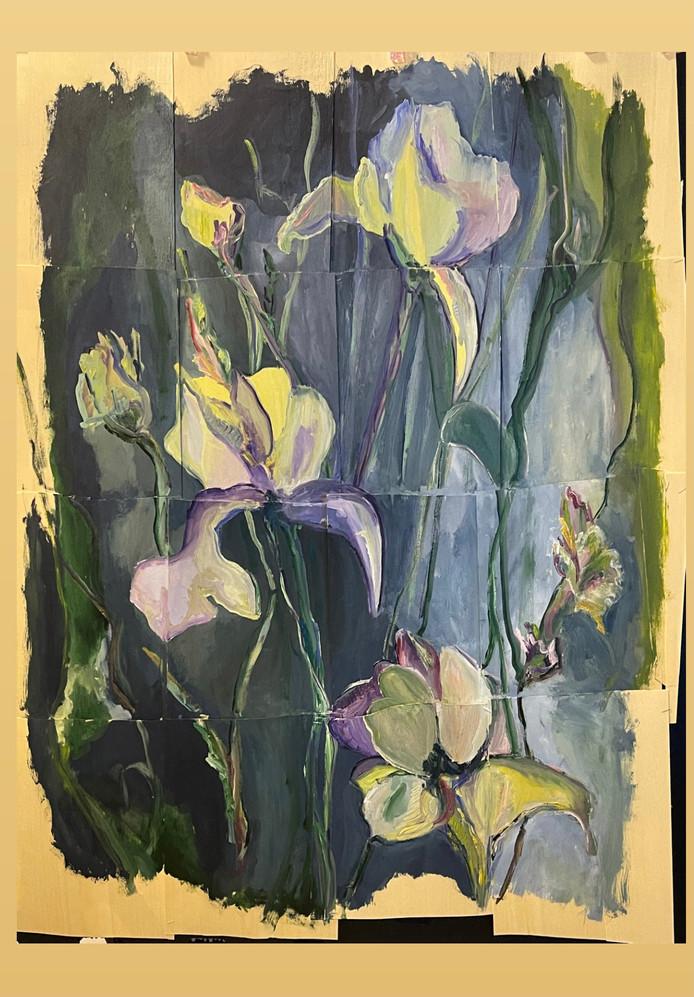 sem titulo, composiçao de 16 pinturas sobre folha de madeira