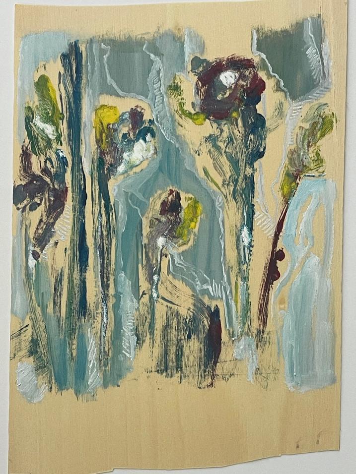 sem titulo, monotipia e pintura sobre folha de madeira