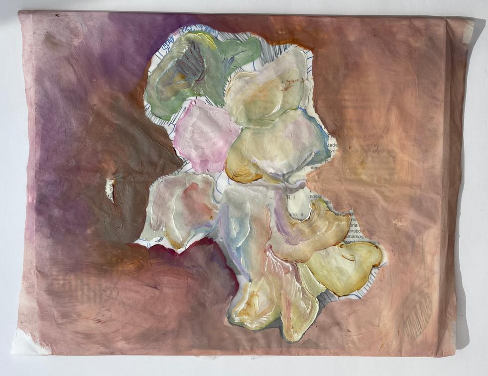 sem titulo, pintura óleo sobre papel de seda embrulhando colagem