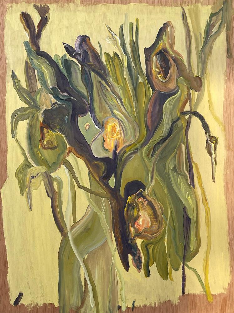Pintura a oleo sobre folha de madeira