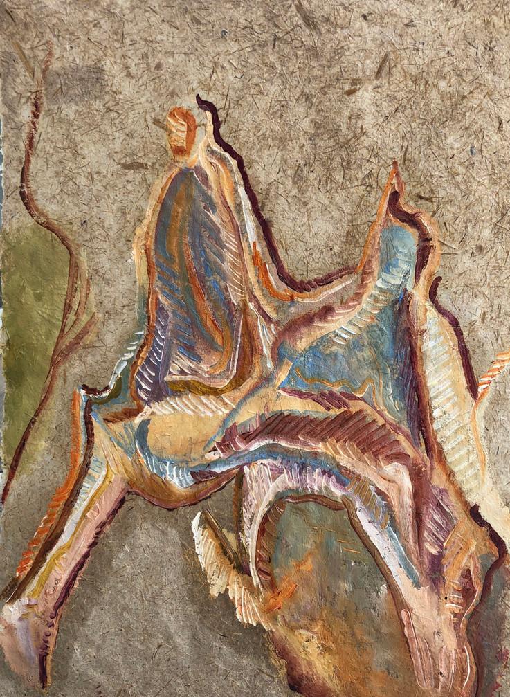 Sem titulo, Pintura a óleo sobre folha de papel reciclado